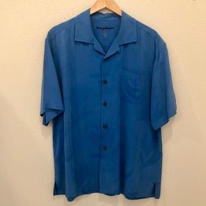 Tommy Bahama Blue Silk Short Sleeve Shirt L